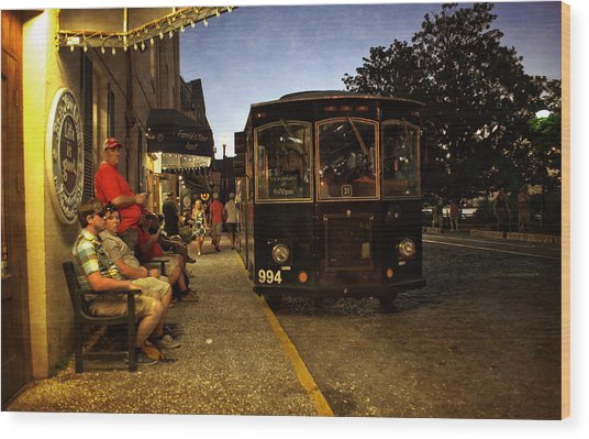 Waiting On A Bus Wood Print