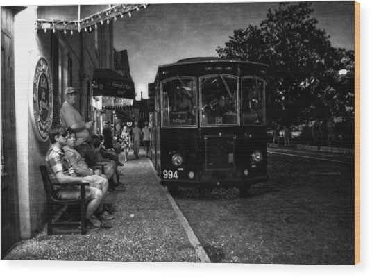 Waiting On A Bus In Black And White Wood Print