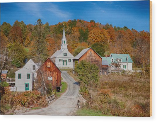 Waits River Church In Autumn Wood Print