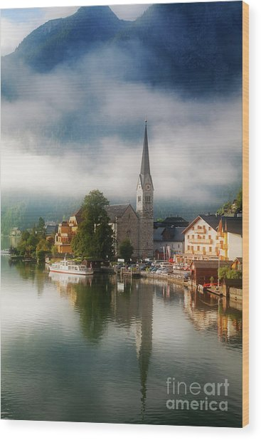 Waking Up In Hallstatt Wood Print