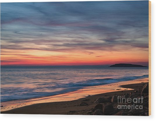 Wales Gower Coast Dusk Wood Print