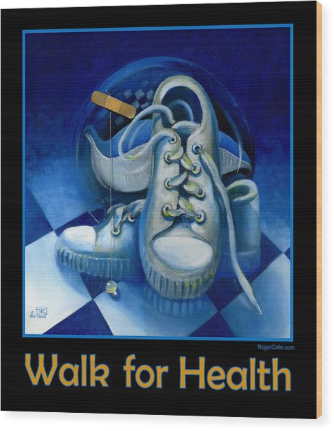 Walk For Health Poster Wood Print