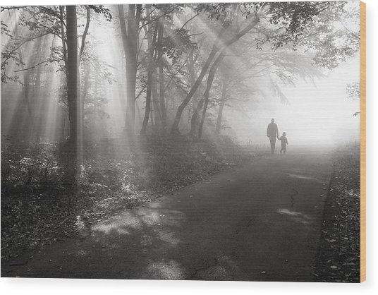 Walk In The Light Wood Print by Floriana Barbu