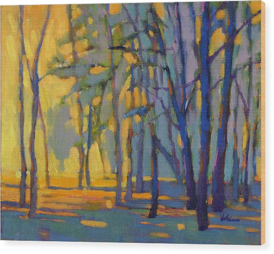 Wood Print featuring the painting Walk In The Woods 3 by Konnie Kim