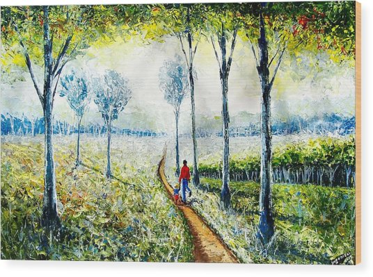 Walk Into The World Wood Print