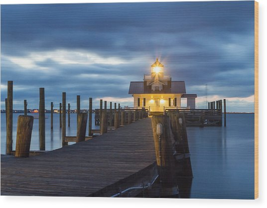 Walk To Roanoke Marshes Lighthouse Wood Print