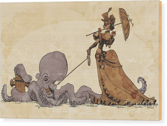 Walkies For Otto Wood Print by Brian Kesinger