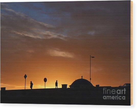 Walking At Sunset Wood Print