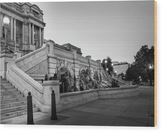 Walking By The Library Of Congress In Black And White Wood Print