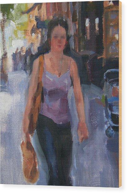 Walking Down Bleeker Street Wood Print by Merle Keller