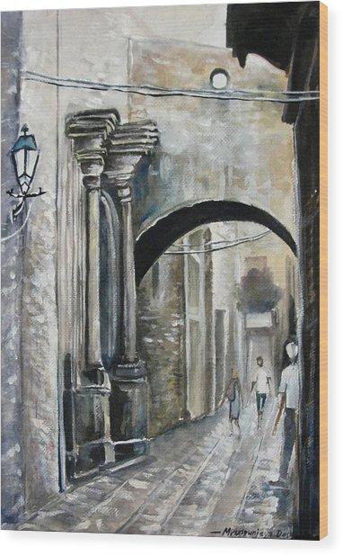 Walking Down The Street Wood Print