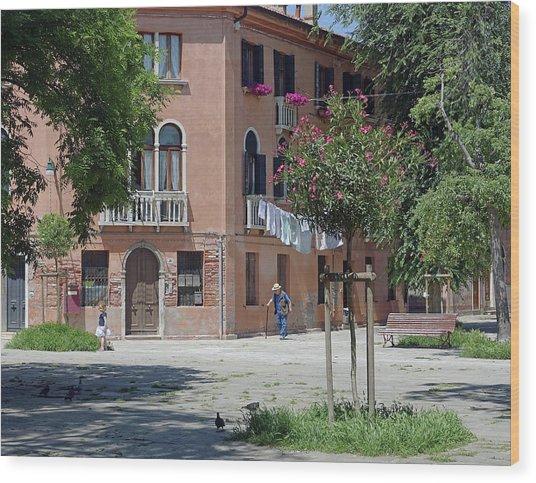Walking In A Quiet Neighborhood On Murano Wood Print