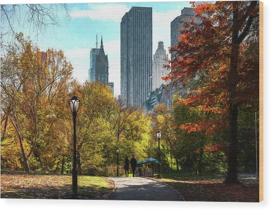 Walking In Central Park Wood Print