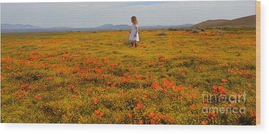 Walking In Poppies Wood Print