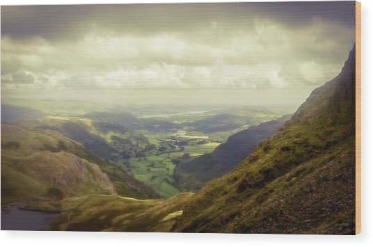 Walking In The Mountains, Lake District, Wood Print
