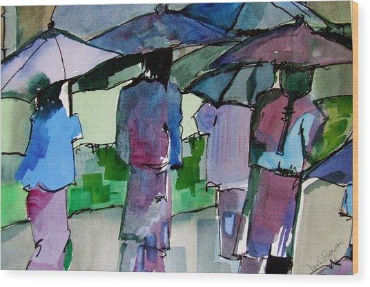 Walking In The Rain Wood Print by Jane Ferguson