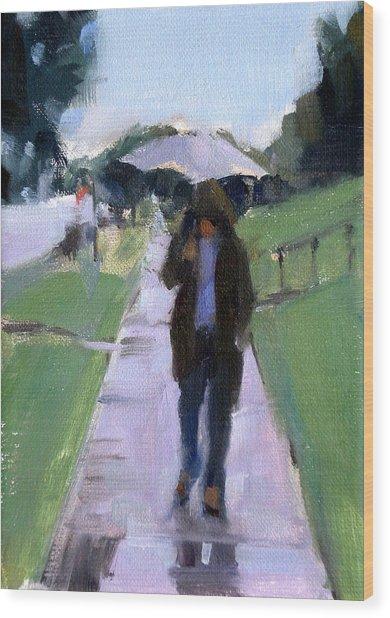 Walking In The Rain Wood Print by Merle Keller