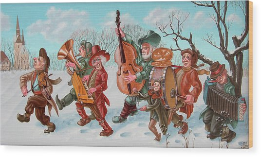 Walking Musicians Wood Print