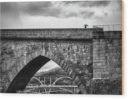 Walking On The Roman Bridge Wood Print