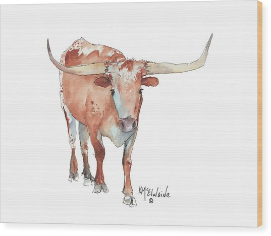 Walking Tall Texas Longhorn Watercolor And Ink By Kmcelwaine Wood Print