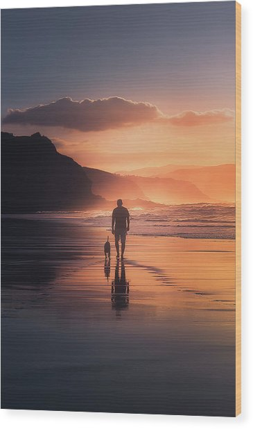 Walking The Dog Wood Print