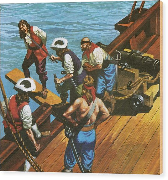 Walking The Plank Wood Print
