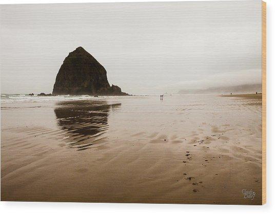 Walking The Wet Sand Wood Print