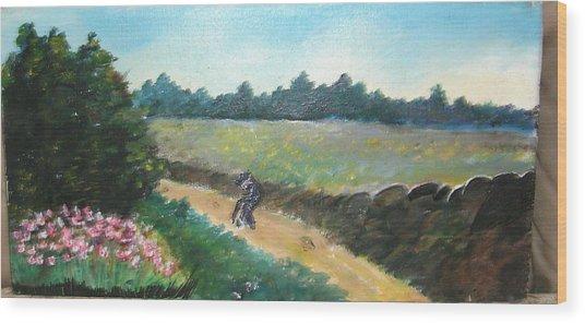 Walking To Town Wood Print by Anne-Elizabeth Whiteway