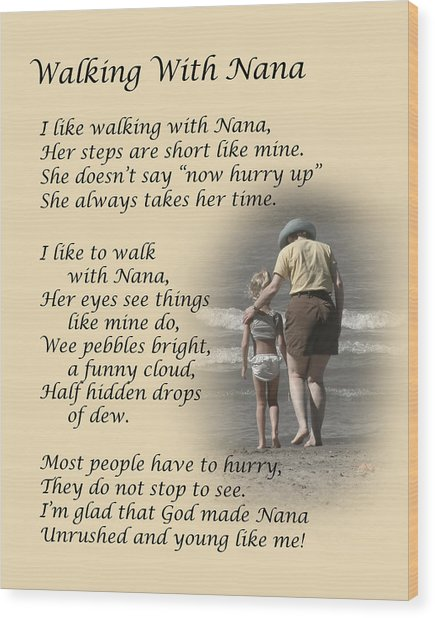 Walking With Nana Wood Print