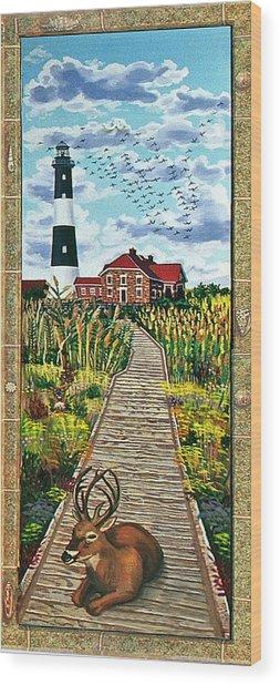 Walkway To Fire Island Lighthouse Wood Print