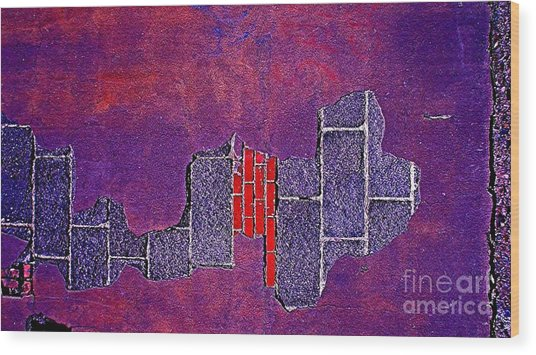 Wall Of Violet Textures Wood Print