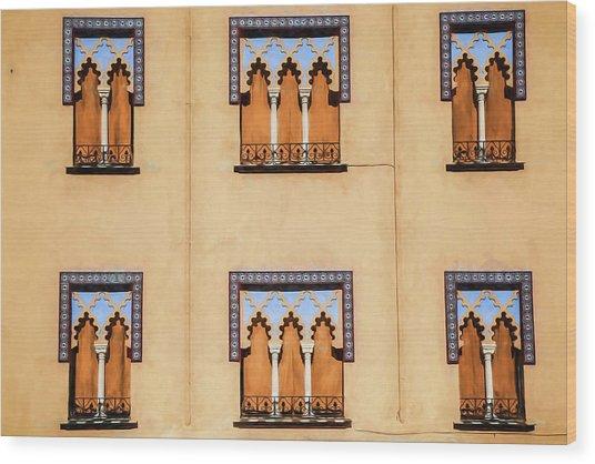 Wall Of Windows Wood Print