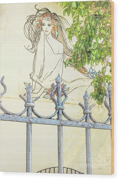 Wall Painting And Wrought Iron Fence Wood Print