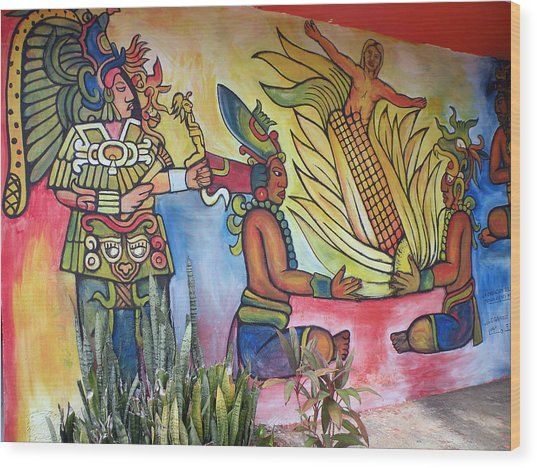 Wall Painting In A Mexican Village Wood Print