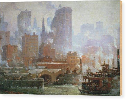 Wall Street Ferry Ship Wood Print