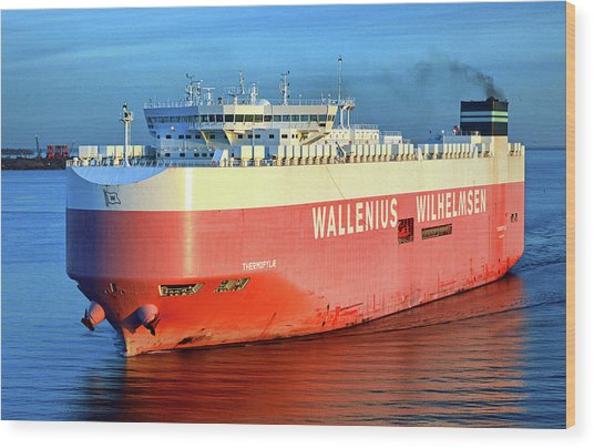 Wood Print featuring the photograph Wallenius Wilhelmsen Thermopylae 9702443 On The Patapsco River by Bill Swartwout Fine Art Photography