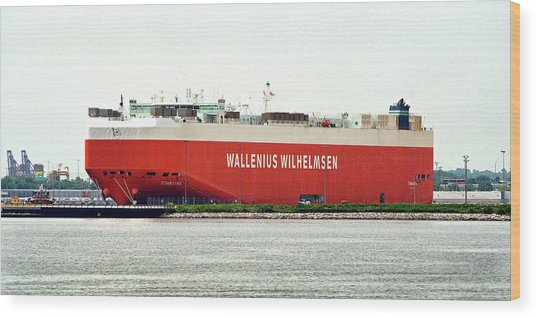 Wood Print featuring the photograph Wallenius Wilhelmsen Tombarra 9319753 At Curtis Bay by Bill Swartwout Fine Art Photography