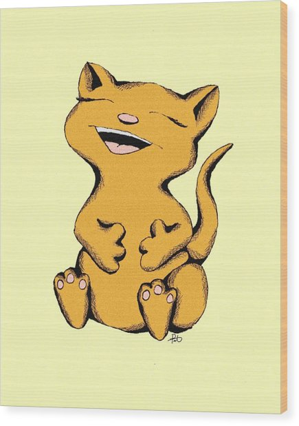 Wally Cat Laughing Wood Print