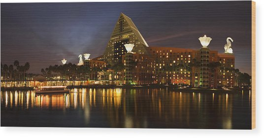 Walt Disney Dolphin At Twilight Wood Print by Andrew Soundarajan