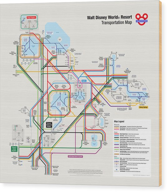 Walt Disney World Resort Transportation Map Wood Print