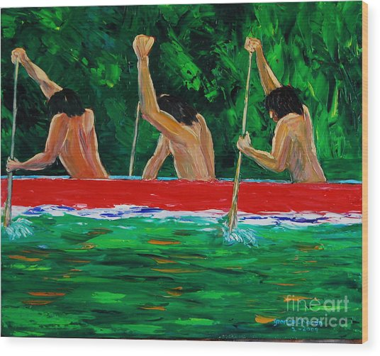 war canoe races 1977 Nooksack tribe Wa  Wood Print by George Chacon