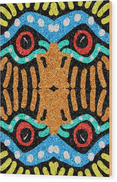 Wood Print featuring the digital art War Eagle Totem Mosaic by Shelli Fitzpatrick