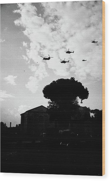 War Helicopters Over The Imperial Fora Wood Print