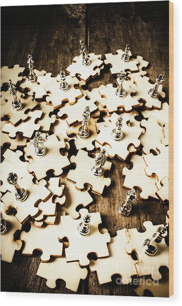 War In A Puzzle Plan Wood Print