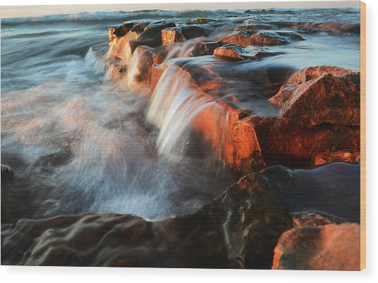 Wards Beach Waterfall-2 Wood Print