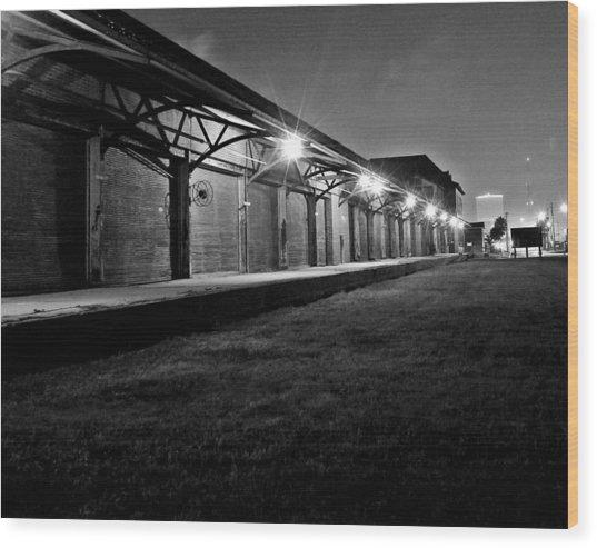 Warehouse At Night Wood Print