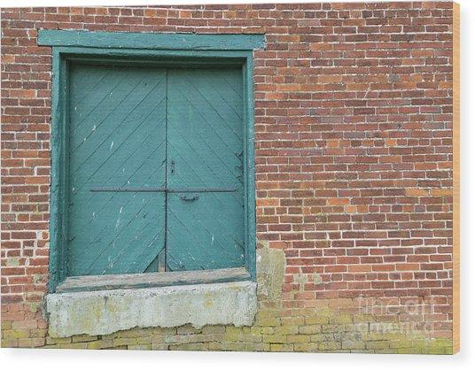 Warehouse Loading Door And Brick Wall Wood Print
