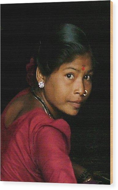 Warli Woman Wood Print by Pramod Bansode