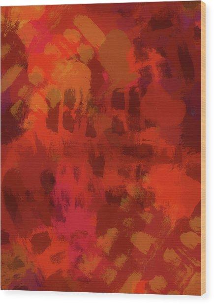 Warm Abstract 1 Wood Print