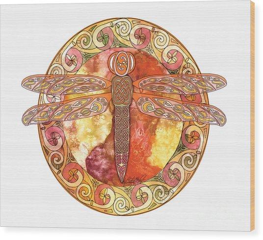 Warm Celtic Dragonfly Wood Print
